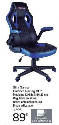 Oferta de Silla Gamer Balance Racing BG por 89€