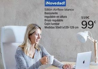 Oferta de Sillón Airflow Blanco  por 99€