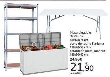 Oferta de Mesa plegable de resna, cofre de resina Karisma, Estantería metal madera  por 21,9€