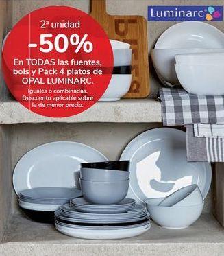 Oferta de En TODAS las fuentes bols y Pack 4 platos OPAL LUMINARC por