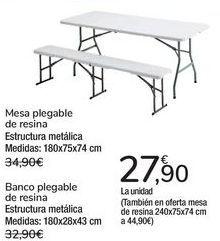 Oferta de Mesa plegable de resina, Bnaco plegable de resina  por 27,9€