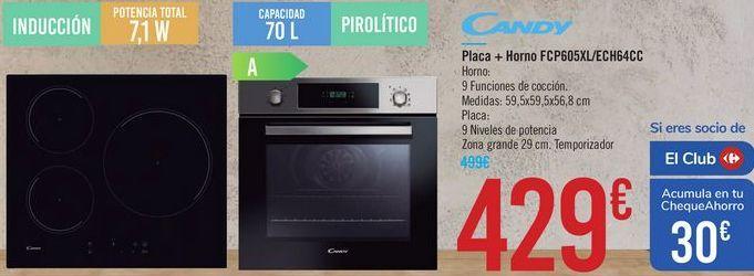 Oferta de Placa + Horno FCP605XL/ECH64CC Candy  por 429€