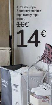 Oferta de Cesto ropa 2 compartimentos  por 14€