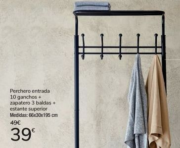 Oferta de Perchero entrada 10 ganchos + zapateros 3 baldas + estante superior  por 39€