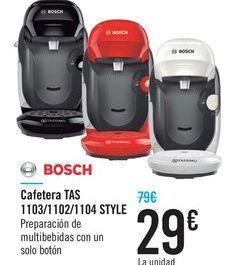Oferta de Cafetera TAS 1103/1102/1104 STYLE BOSCH por 29€