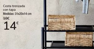 Oferta de Cesta trenzada con tapa  por 14€