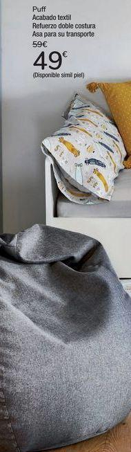 Oferta de Puff Acabado textil Refuerzo doble costura Asa para su transporte por 49€