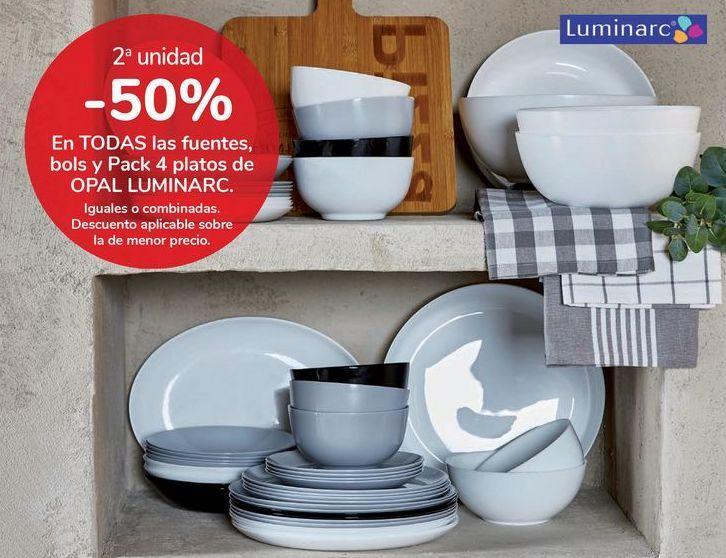 Oferta de En TODAS las fuentes, bols y Pack 4 platos de OPAL LUMINARC por