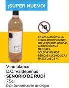 Oferta de Vino blanco D.O. Valdepeñas SEÑORÍO DE RUDÍ por 0,9€