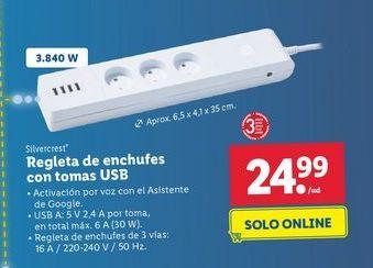 Oferta de Regleta multitoma SilverCrest por 24,99€