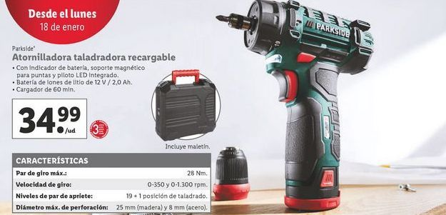 Oferta de Taladro atornillador Parkside por 34,99€