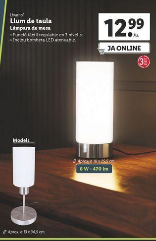 Oferta de Lámpara de mesa Livarno por 12,99€