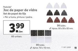Oferta de Papel de lija Parkside por 3,99€