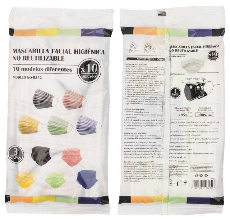 Oferta de Mascarillas higiénicas adulto no reutilizables de colores o negra por 2,5€