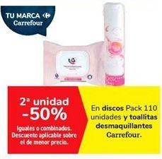 Oferta de En discos y toallitas desmaquillantes Carrefour  por