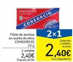 Oferta de Filete de anchoa en aceite de oliva CONSORCIO por 2,4€
