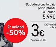 Oferta de Sudadera cuello caja print infantil  por 5,99€