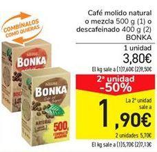 Oferta de Café molido natural o mezcla descafeinado BONKA  por 3,75€