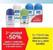Oferta de En TODOS los desodorantes Roll on y stick SANEX  por