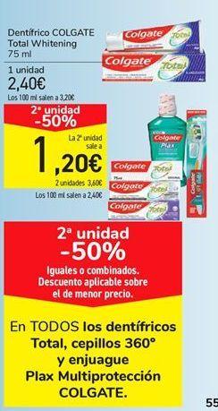 Oferta de En TODOS los dentífricos Total, cepillos 360 y enjuague Plax Multiprotección COLGATE  por