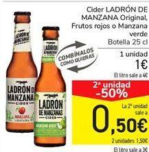 Oferta de Cider LADRÓN DE MANZANAS Original Frutos rojos o Manzanas  por 1€