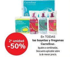 Oferta de En TODAS las bayetas y fregonas Carrefour, iguales o combinadas  por