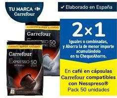 Oferta de En café en cápsulas Carrefour compatibles con Nesspreso por