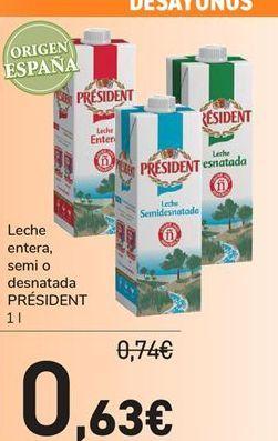 Oferta de Leche entera, semi o desnatada PRÉSIDENT  por 0,63€