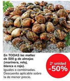 Oferta de En TODAS las mallas de 500g de almejas (marinera, reloj, blanca o roja) por
