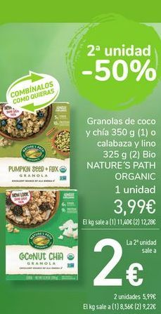 Oferta de Granolas de coco y chía o calabaza y lino Bio NATURE'S PATH ORGANIC  por 3,99€