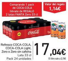 Oferta de Refresco COCA-COLA, COCA-COLA Light, Zero o Zero sin cafeína  por 17,04€