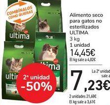 Oferta de Alimento seco para gatos no esterilizados ULTIMA   por 14,45€