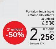 Oferta de Pantalón felpa liso o estampado infantil  por 4,5€
