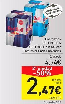 Oferta de Energéticos RED BULL o RED BULL Sin azúcar  por 4,94€
