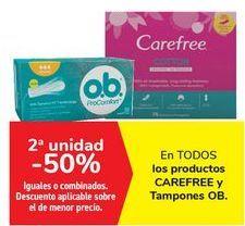 Oferta de En TODOS los productos CAREFREE y Tampones OB  por