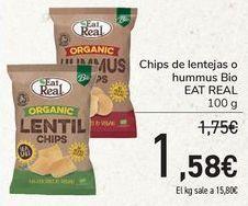 Oferta de Chips de lentejas o hummus Bio EAT REAL  por 1,58€