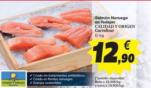 Oferta de Salmón Noruego en rodajas CALIDAD Y ORIGEN Carrefour  por 12,9€
