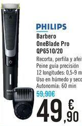 Oferta de Barbero OneBlade Pro QP6510/20 PHILIPS  por 49,9€