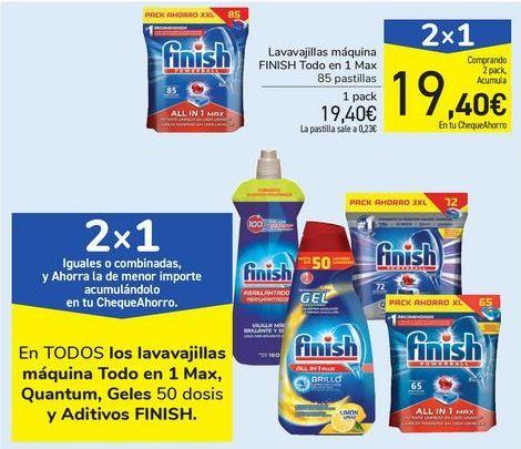Oferta de Lavavajillas máquina FINISH Todo en 1 Max por 19,4€