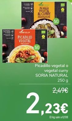Oferta de Picadillo vegetal o vegetal curry SORIA NATURAL  por 2,23€