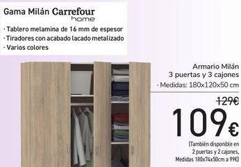 Oferta de Armario Milán 3 puertas y 3 cajones  por 109€