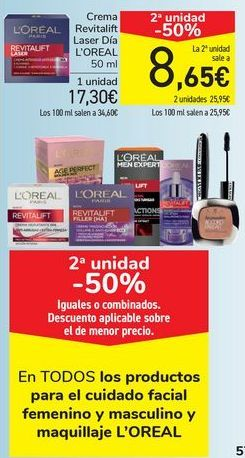 Oferta de En TODOS los productos para el cuidado facial femenino y masculino y maquillaje L'OREAL  por