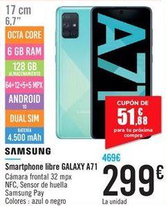 Oferta de Smartphone libre GALAXY A71  por 299€