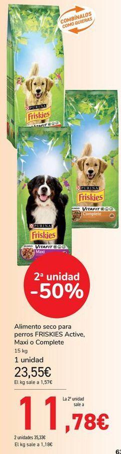 Oferta de Alimento seco para perros FRISKIES Active, Maxi o Complete  por 23,55€