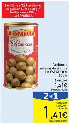 Oferta de Aceitunas rellenas de anchoa LA ESPAÑOLA por 1,41€