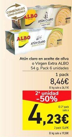 Oferta de Atún claro en aceite de oliva o Virgen extra ALBO  por 8,46€