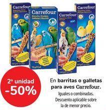 Oferta de En barritas o galletas para aves Carrefour, iguales o combinadas  por
