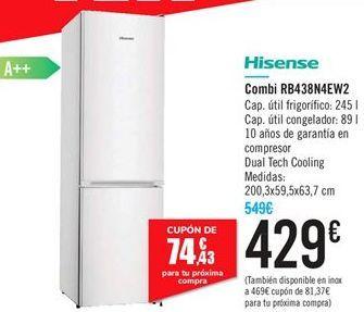Oferta de Combi RB438N4EWN2 Hisense  por 429€