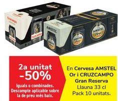 Oferta de En cerveza AMSTEL Oro y CRUZCAMPO Gran Reserva  por