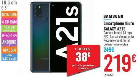 Oferta de Smartphone libre GALAXY A21S Samsung  por 219€